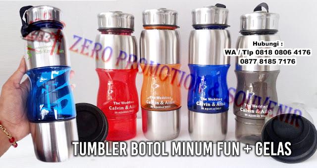 Tumbler Botol Minum Fun + Gelas / Botol Promosi