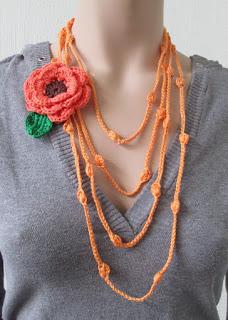 blad, bloem, gehaakt, haken, handgemaakt, heyleuk, katoen, ketting, strengen, oranje