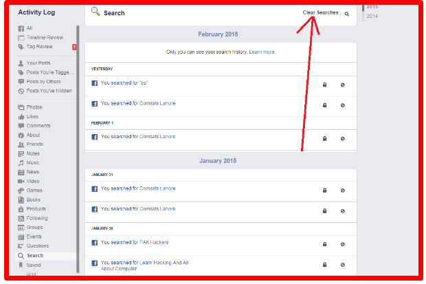 How to delete facebook search history ccuart Images