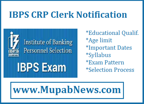 IBPS Clerk 2018 Notification PDF Released : IBPS recently announced the Notification for the Post of CRP Clerk-VIII for the academic year 2019-2020. IBPS Clerk Notification 2018 PDF is attached in our page mupabnews.com. Institute of Banking Personnel Selection has Released nearly 7000 Vacancies for the Clerical cadre Post through common recruitment process(preliminary & Main). IBPS Notification for Clerk 2019 is to fill the Vacancies all over india and participating organisations around 19 nationalized Banks(Private & Government Sector). In this page, you can find the IBPS Clerical Notification 2018 PDF, Important Date(Start Date, Last Date to apply online, Exam Date), Syllabus, Pay-Scale, Vacancies allotment, Age limit and Eligibility Criteria, Exam Result. Are you Searching for IBPS Clerical Cadre 2018 Notification PDF?? Stay Tune & Scroll the page below.