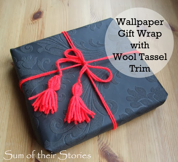 Wallpaper Gift Wrap with Wool Tassels