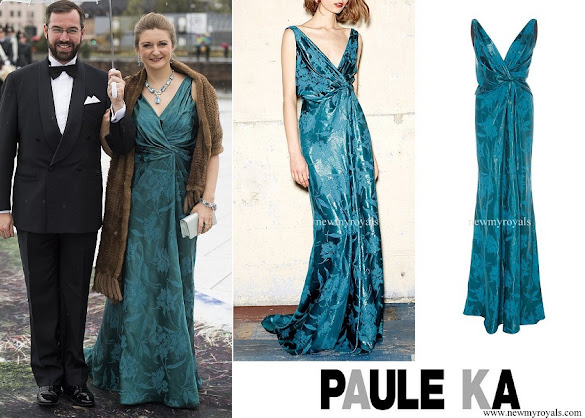 Princess Stephanie wore Paule Ka Jacquard V Neck Draped Gown
