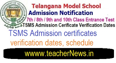 TSMS Admission Test 2018 certificates verification dates, schedule