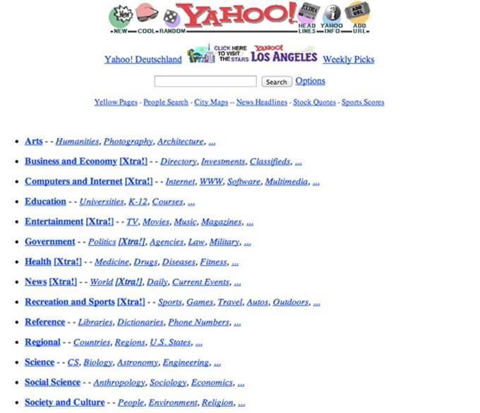 yahoo home page 1996