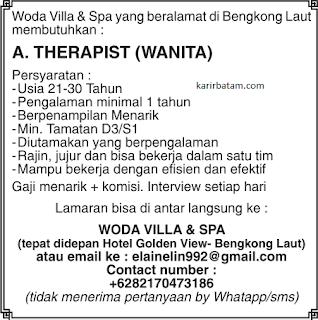 Lowongan Kerja Woda Villa and Spa Batam