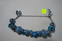 geöffnet: A TE® Armband Charms Damen Kristall Blau Muranoglas Blume Glasperle Mädchen Geschenk Frauen #JW-B94