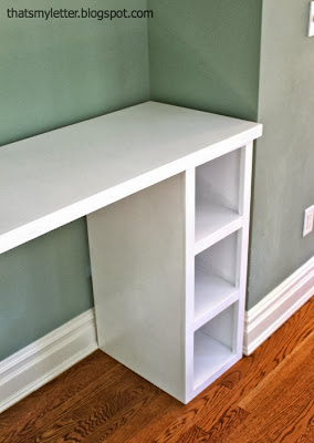 homework counter with open storage shelves