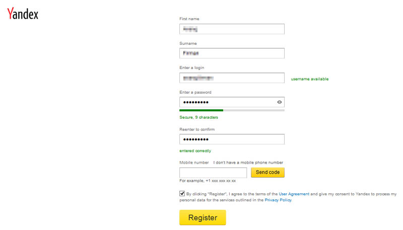 Yandex Registration