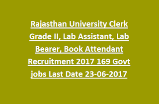 Rajasthan University Clerk Grade II, Lab Assistant, Lab Bearer, Book Attendant Recruitment 2017 169 Govt jobs Last Date 23-06-2017