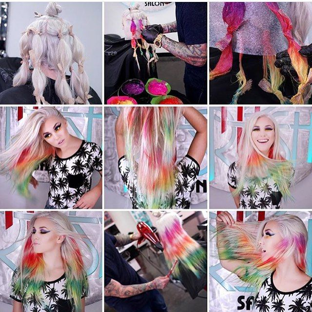 Check out the Tie and Dye technique  The HairCut Web