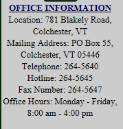 Colchester Recreation Contact Info