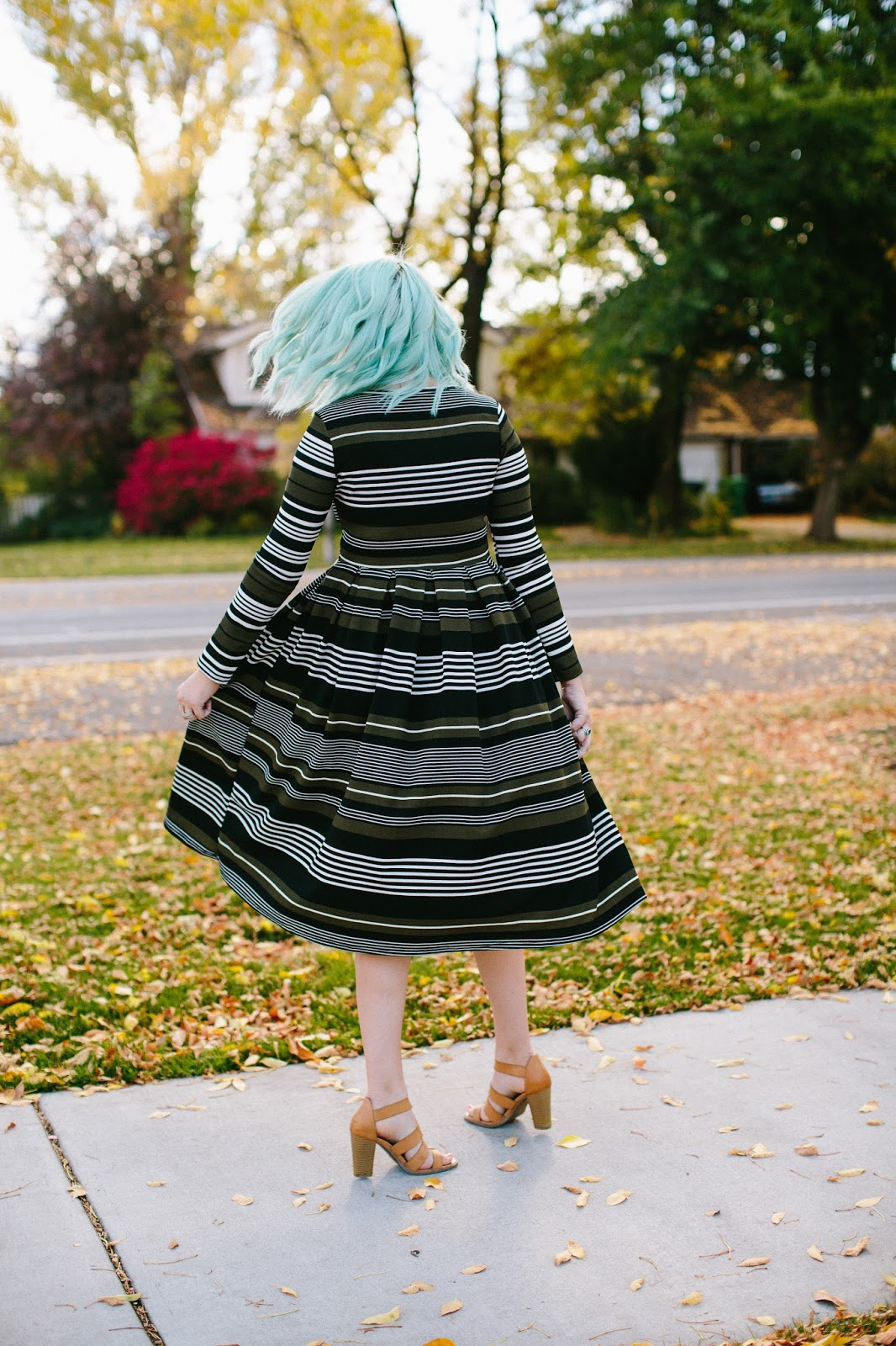 Long Sleeve Dress, Striped Dress, Modest Dress