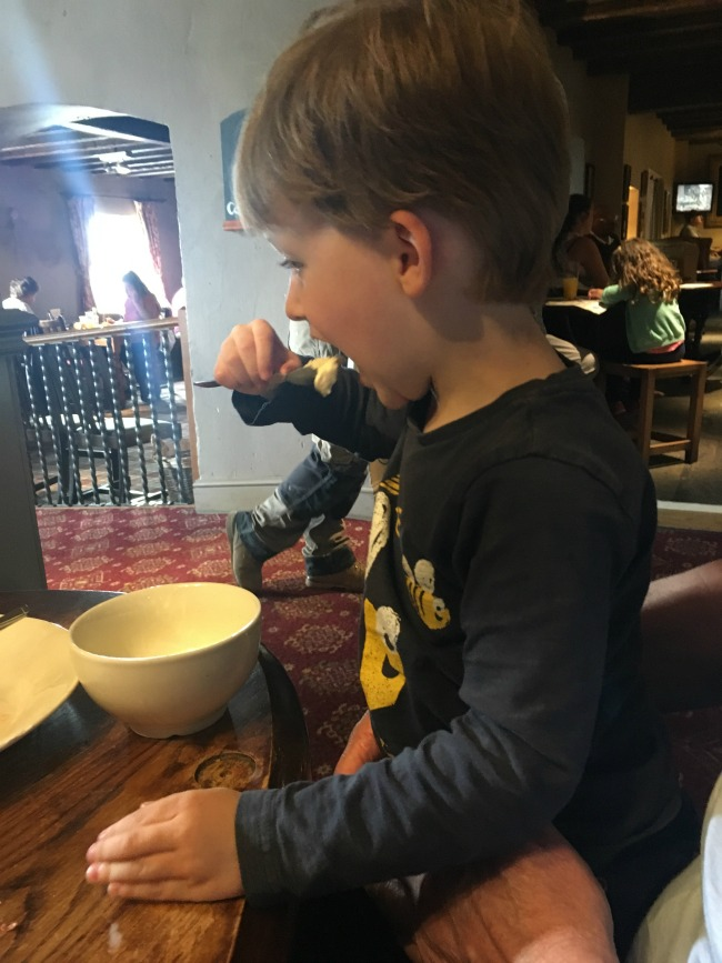 Our-weekly-journal-26th-June-2017-toddler-eating-ice-cream-at-the-Captains-Wife-pub-Swanbridge