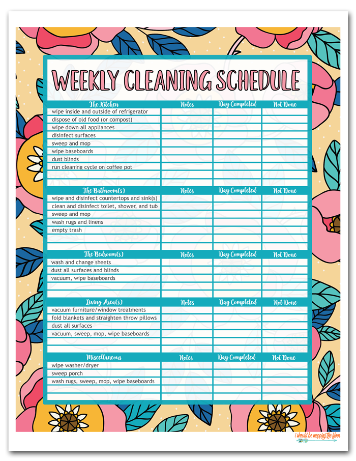 Colorful Weekly Cleaning Schedule