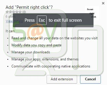 Permit right click (Extensión Chrome)