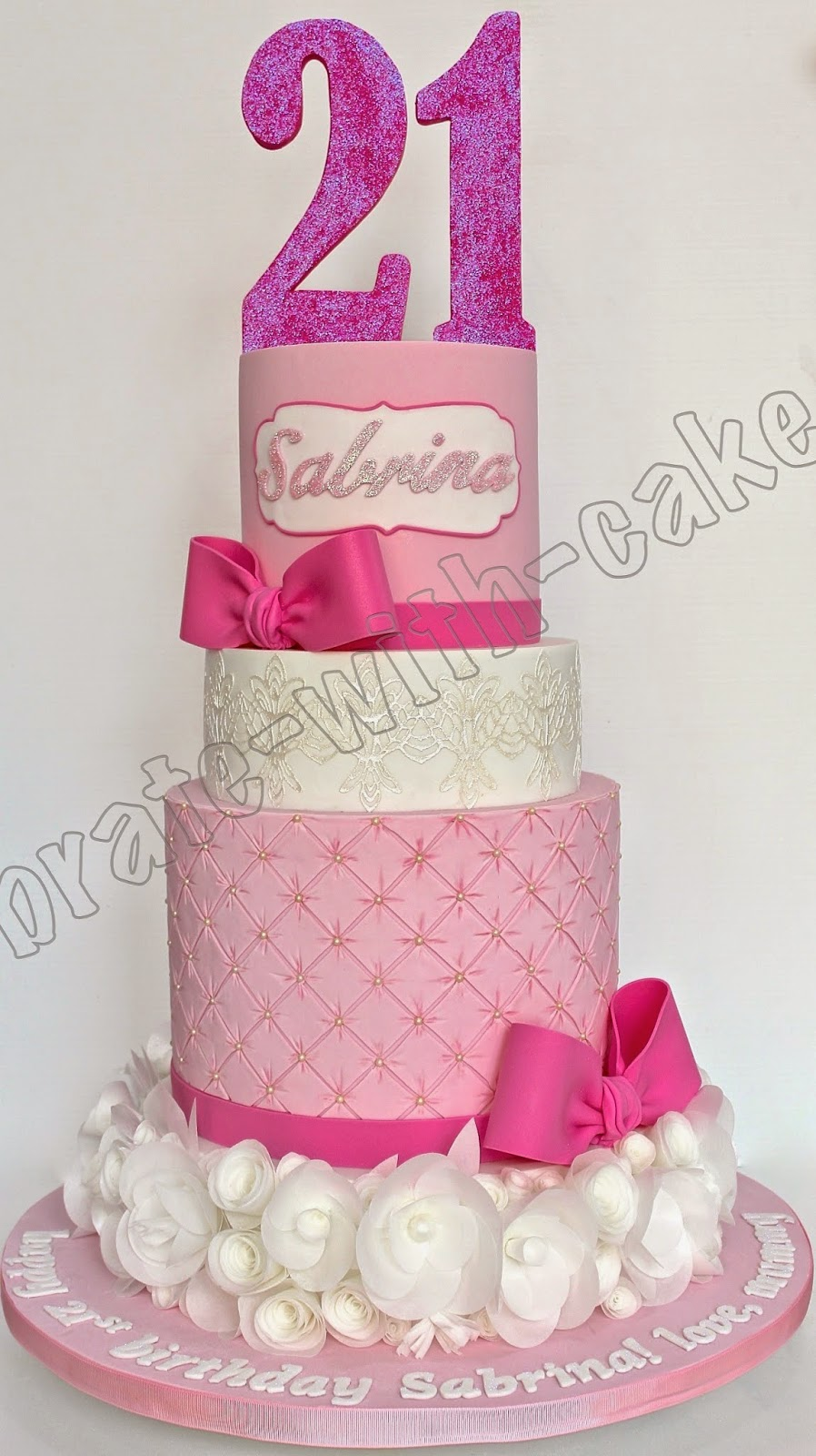 21st Birthday, bow and quilt with Wafer Flowers 4 tier Cake