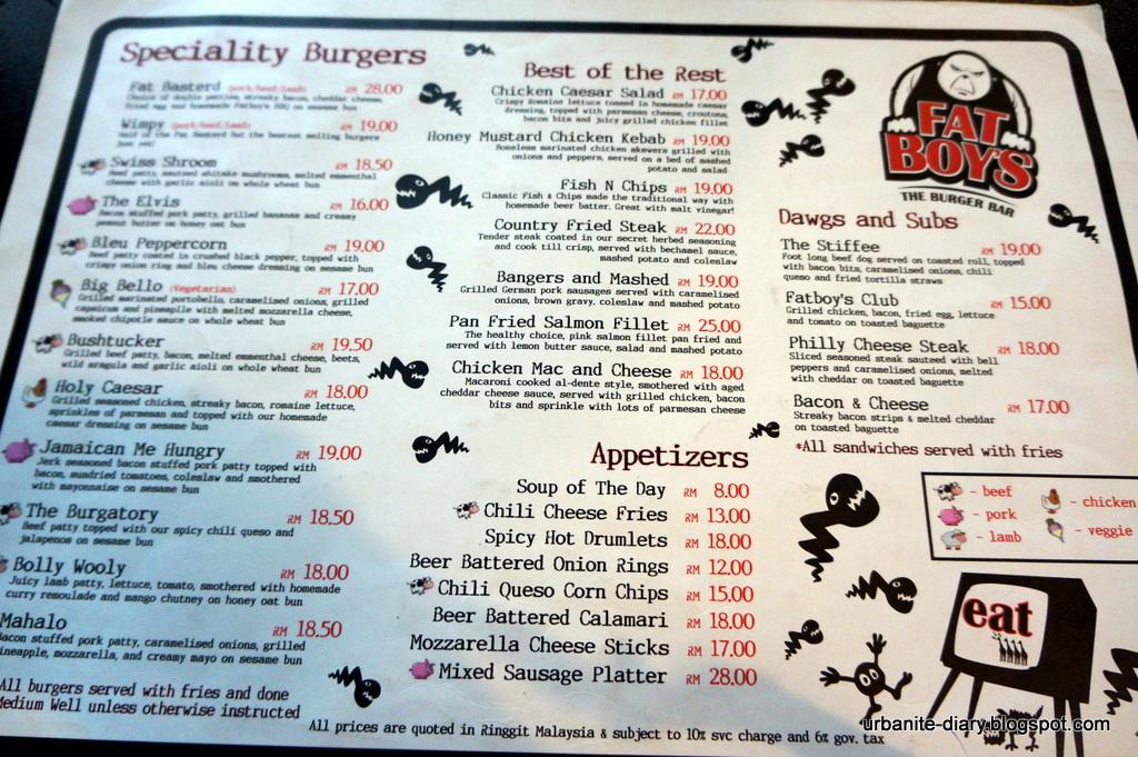 Qg Restaurant Burger Menu