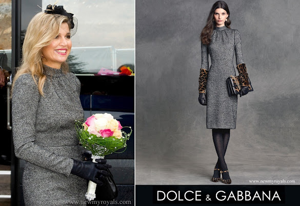 Queen Maxima wore Dolce and Gabbana Microprint Wool Sheath Dress