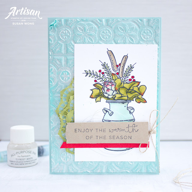 Country Home + Hearts Come Home by Stampin' Up! - Gorgeous Tin Tile embossing folder and Shimmer Paint! - Susan Wong, Artisan Design Team