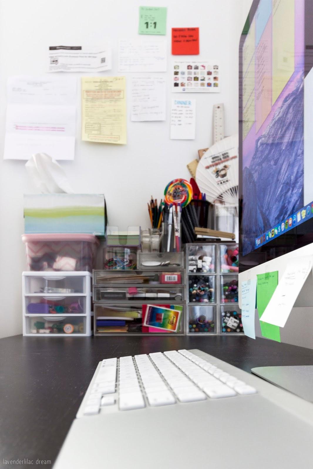 Inspiration & Notes wall, Muji acrylic drawers for organizing stationary