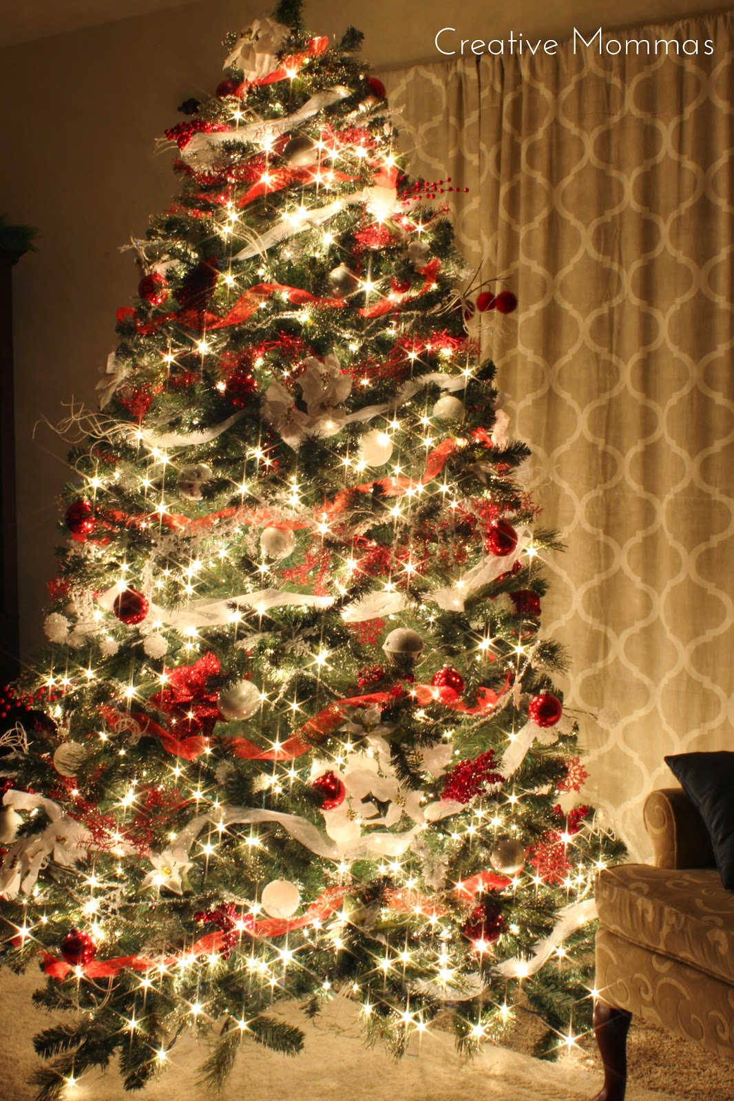 Creative mommas red white christmas tree for Where can i buy a red christmas tree