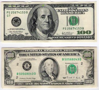 nota nova e antiga de 100 dólares