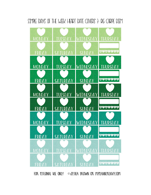 Free Printable Simple Days of the Week Heart Date Covers for the Vertical Carpe Diem Inserts Page 3 of 7 from myplannerenvy.com. Also available with a Circle instead of a Heart.