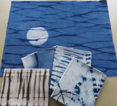 Indigo Shibori fabrics by Cape Cod Shibori