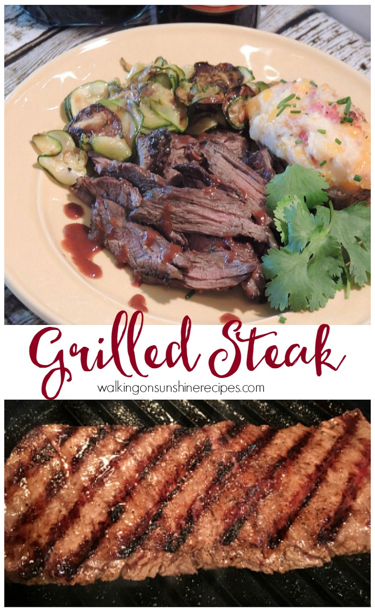 The most delicious marinade for steak from Walking on Sunshine Recipes.  I love using skirt steak and then slicing it against the grain.  Reserve some of the marinade to boil down to drizzle on top of the steak after it's cooked.