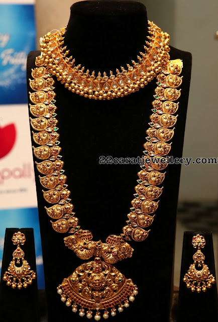 Nakshi Mango Set Tussi Necklace by Manepally