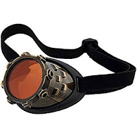Men and women's steampunk accessories. cyclops eyepatch CyberSteam Gold Eyepatch with Orange Lens