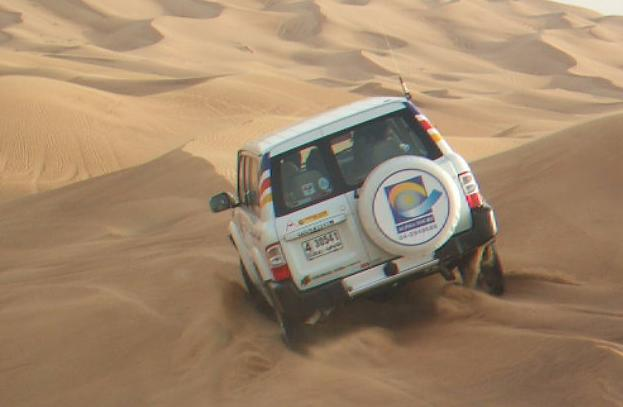 Dune Bashing near the sand dunes of Dubai