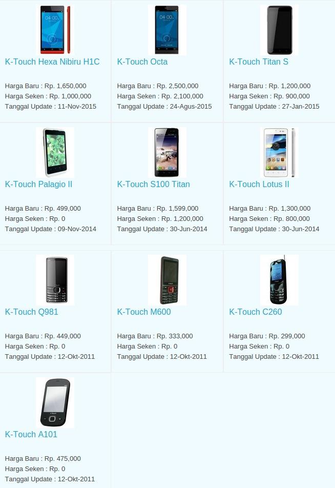 Daftar Harga Terbaru Hp K-Touch Maret 2016