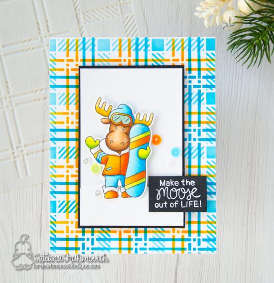 Snowboard Moose Card by Tatiana Travimovich | Mouse Mountain Stamp Set and Plaid Stencil Set by Newton's Nook Designs #newtonsnook #handmade