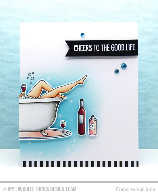 Handmade card from Francine Vuillème featuring Time for the Bubbly stamp set  #mftstamps