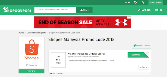 Shopee Malaysia Promo Codes are available on ShopCoupons