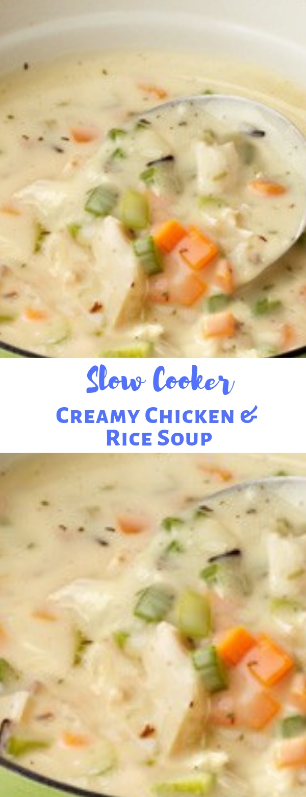 Slow Cooker Creamy Chicken & Rice Soup
