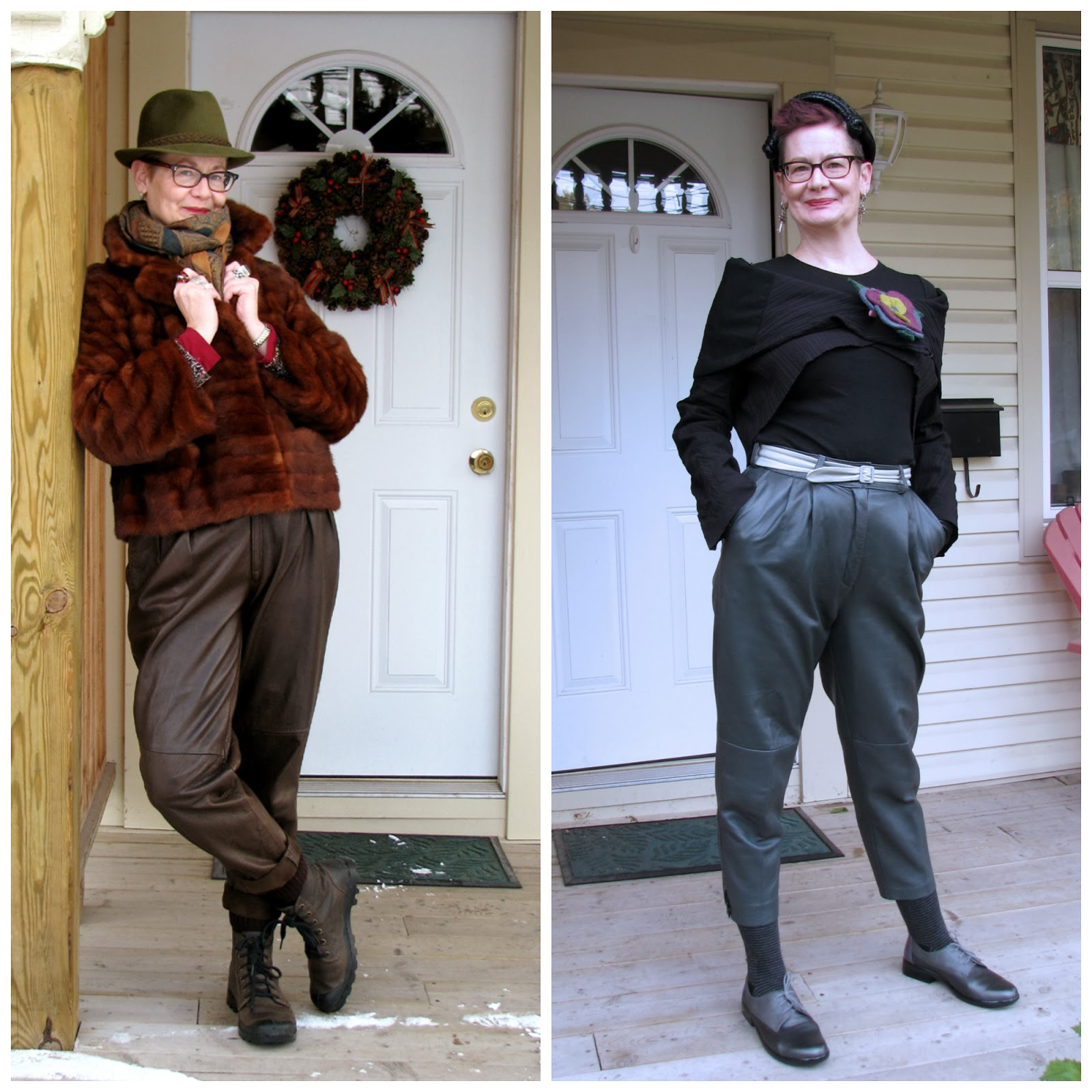 e36a87549c0b19 Flaunting my 80's pegged leather pants - the brown ones on the left were  purchased on Etsy and the grey ones on the right from The Sentimentalist.