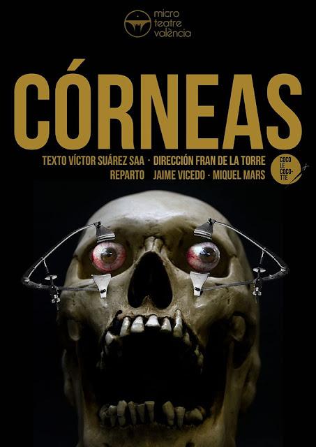 Cartel de la obra de microteatro Córneas, con Miquel Mars y Jaime Vicedo