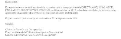 correo de OADIS manifestando que España aun no adopto la (UE) 2016/2102