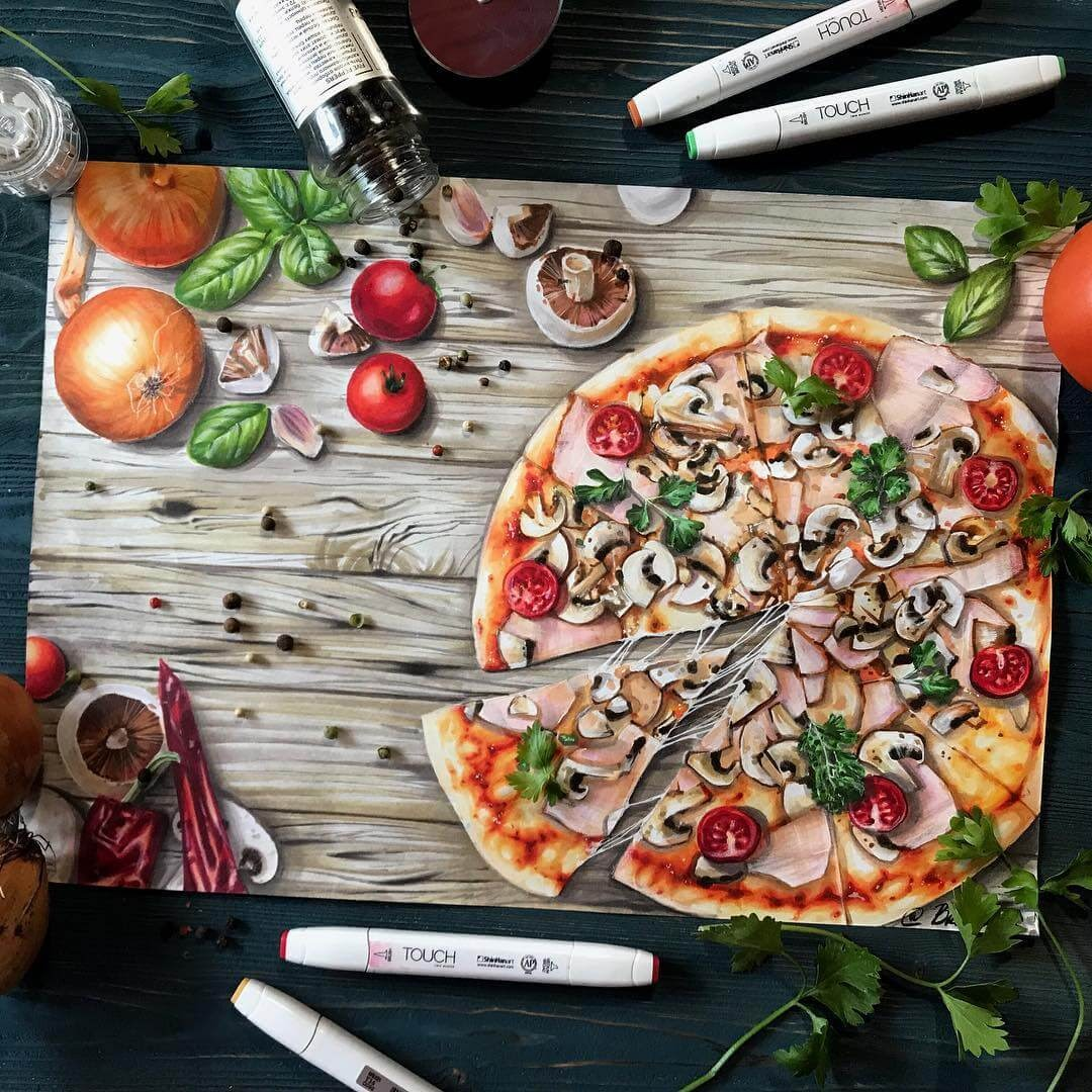 06-Pizza-with-Mushrooms-and-Ham-Katerina-Brovka-Illustrations-of-Food-Art-Architecture-and-More-www-designstack-co