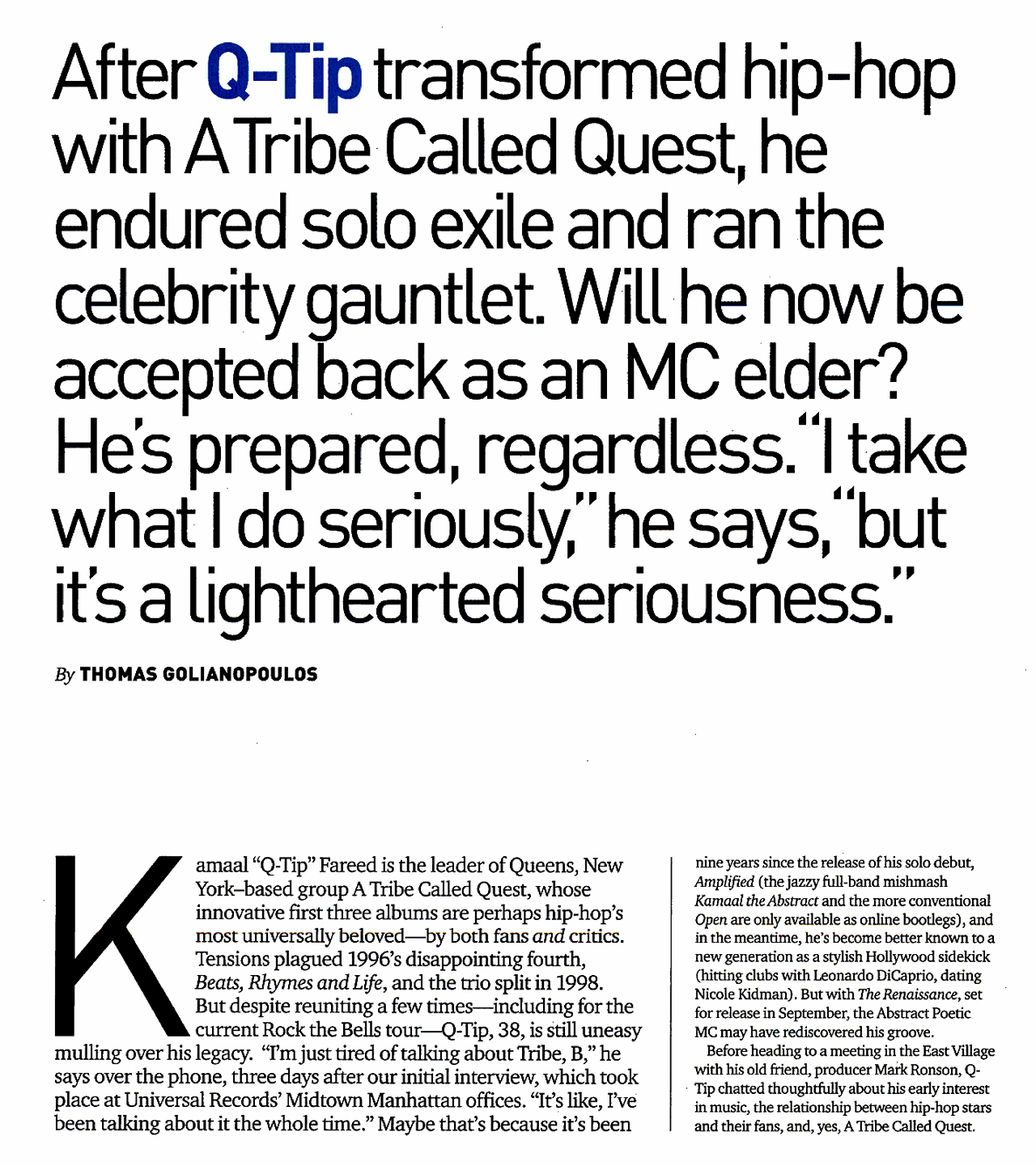"Q-Tip Interview in Spin Magazine 2008 ""Hip-Hop Nostalgia"""