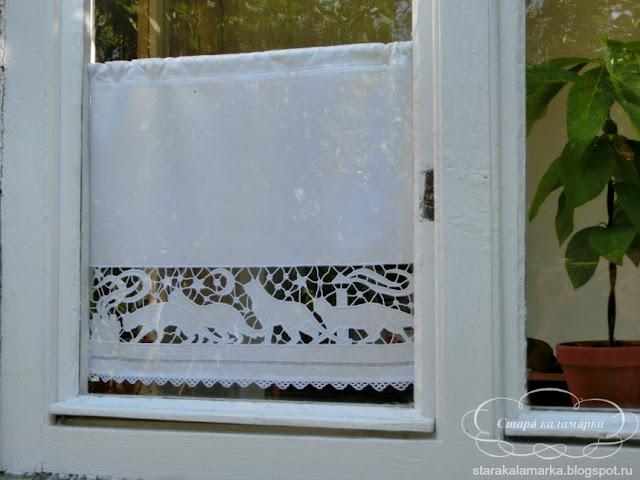 занавеска ришилье, занавеска на небольшое окно, занавеска льняная, занавеска лен, маленькая занавеска