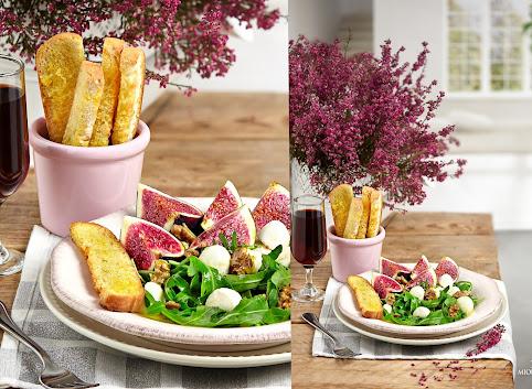 Sałatka z figą, mini mozzarellą, rukolą i orzechami włoskimi
