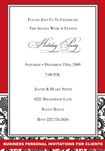 BUSINESS PERSONAL INVITATIONS FOR CLIENTS