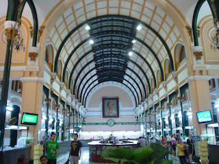 Interior Central Post Office of Ho Chi Minh. Vietnam