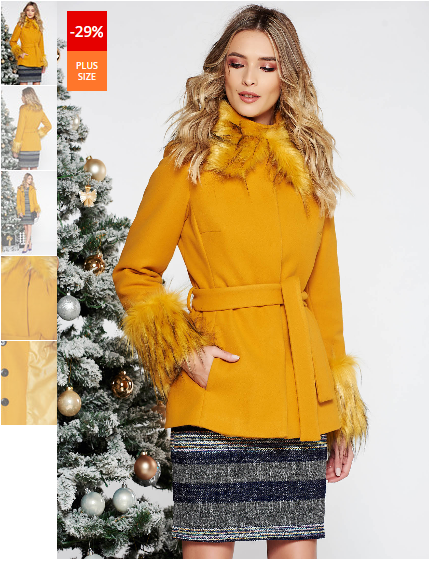 Palton dama mustariu elegant scurt cu croi larg din lana captusit r accesorizat cu cordon