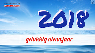Blue sky Ocean Happy new Year in Dutch language