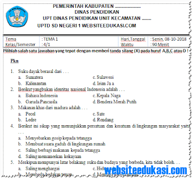 Soal PTS/ UTS Kelas 4 Semester 1 K13 Tahun 2018/2019