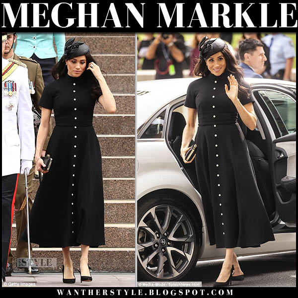 Meghan Markle in black button down midi dress emilia wickstead with black hat and black tabitha simmons pumps australian royal tour outfits october 20